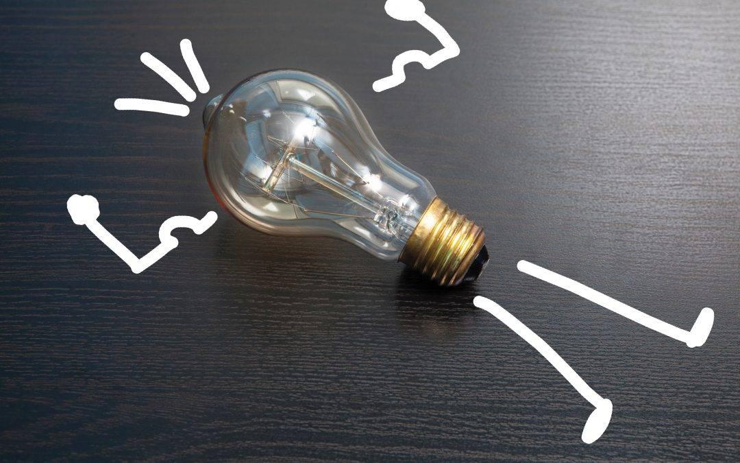 light bulb on black surface