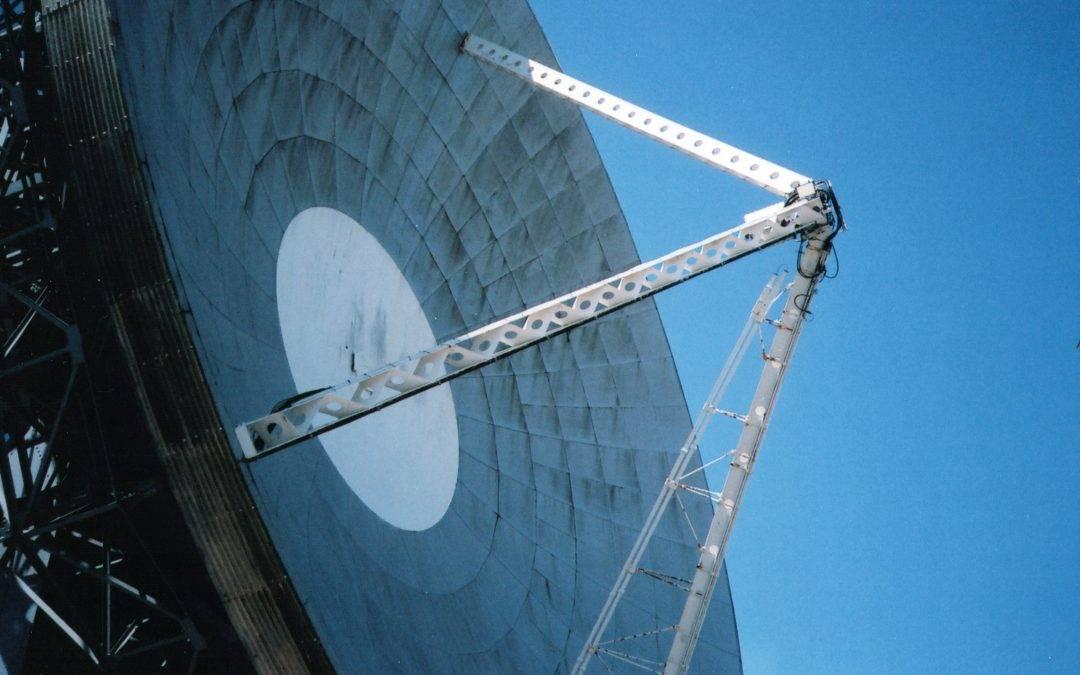 white and black satellite dish